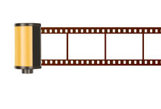 35mm film cannister with blank photo frames, white background Stock Photos