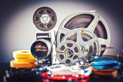 8mm film movie. Vintage 8mm film concept of movie industry Royalty Free Stock Photo
