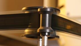 35 mm Film Projector Gears Closeup stock footage