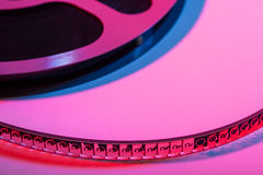 Film reel with movie film - space for text Royalty Free Stock Photos