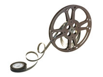 16mm Film Reel 13. A 16mm film in a metallic reel, isolated over white background, with clipping path Stock Images