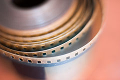 35 mm film reel perforations spool, movie symbol Stock Image