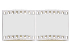 35mm  film strip. Illustration with blank film strip frame isolated on white Stock Photography