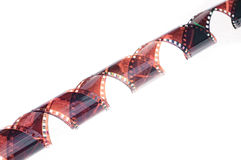 35mm film strip over white background stock photos