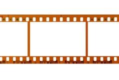 35mm filmremsa, tomma ramar, vit bakgrund Arkivbild