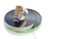 35 mm filmu rolki odizolowywać na białym tle Obrazy Royalty Free