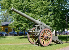 155-mm French gun of model K 77 of a sample of 1877. The museum Royalty Free Stock Photo