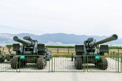 203 mm granatników czasy Drugi wojna światowa Muzeum milita Zdjęcie Royalty Free