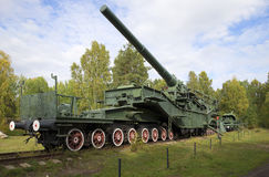 305-mm gun mount on the rail conveyor TM-3-12. Fort  Stock Photos