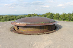 155mm gun turret WW1 French Fort Douaumont. Steel armoured 155mm gun turret on top of French First World War Fort Douaumont near Verdun stock photo