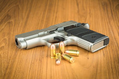 .380 mm hand gun. With rounds Royalty Free Stock Photos