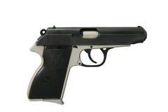 9mm handeldvapen som isoleras på vit Arkivfoto