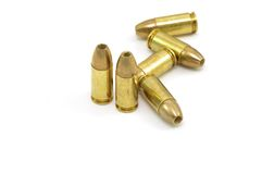 9mm hollow point bullets. A group of 9mm hollow point bullets against a white background Royalty Free Stock Photos