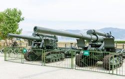 203 mm-houwitserstijden van de Tweede Wereldoorlog Museum van milita Royalty-vrije Stock Foto's