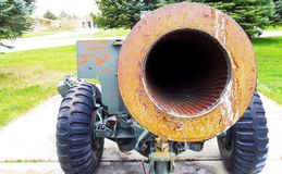 A 155mm howitzer. Looking down the barrel of an old 155mm howitzer Royalty Free Stock Photo