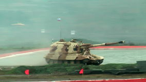 The 152 mm howitzer 2S19M2 Msta-S. Russia. The 2S19M2 Msta-S is a self-propelled 152 mm howitzer. NATO name - M1990 Farm. RAE-2013 exhibition. Russia Arms Expo stock footage