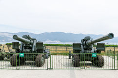 203 mm howitzers times of the Second World War. Museum of milita Royalty Free Stock Photo