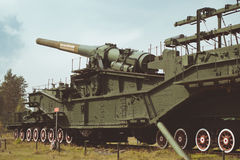 305-mm installation TM-3-12. KRASNAYA GORKA, RUSSIA - AUGUST 23, 2014: 305-mm installation TM-3-12 on the military-historical site of Fort Krasnaya Gorka, Russia Stock Photo