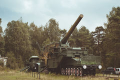 305-mm installation TM-3-12. KRASNAYA GORKA, RUSSIA - AUGUST 23, 2014: 305-mm installation TM-3-12 on the military-historical site of Fort Krasnaya Gorka, Russia Royalty Free Stock Photo