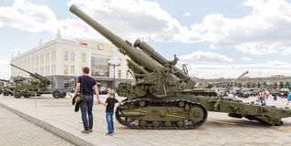 152mm kanon model 1935 BR-2 Pyshma, Ekaterinburg, Rusland - Augustus Royalty-vrije Stock Fotografie