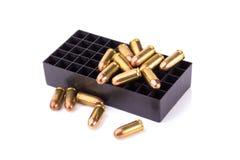 9mm Kugel für ein Gewehr auf weißem Hintergrund Stockfotos