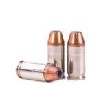 9mm Kugel für ein Gewehr lokalisiert auf weißem Hintergrund Stockbild