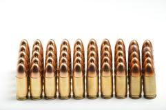 9mm Kugeln in Folge Stockbild
