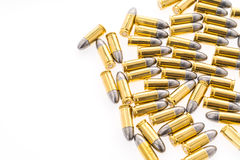 9mm kula för vapen på vit bakgrund Arkivfoton