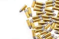 9mm kula för vapen på vit bakgrund Royaltyfria Bilder