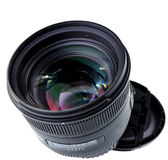 85mm lens isolated on white. Stock Images