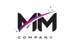 MM M M Black Letter Logo Design with Purple Magenta Swoosh. And Stars Stock Photo