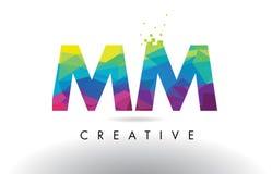 MM M M Colorful Letter Origami Triangles Design Vector. vector illustration