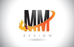 MM M M Letter Logo with Fire Flames Design and Orange Swoosh. MM M M Letter Logo Design with Fire Flames and Orange Swoosh Vector Illustration Royalty Free Stock Photography