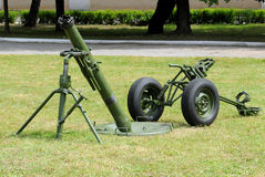 The 120-mm mortar. 120-mm mortar 2B11 Ammunition Sani in firing position Royalty Free Stock Photos