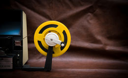 8mm movie editing desktop with editing machine part and yellow r Stock Photos