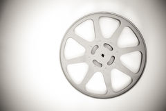 16 mm movie empty reel black and white. 16 mm cinema movie empty reel in black and white Stock Image