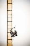 35mm movie filmstrip blank frames reel with clapper board Stock Images