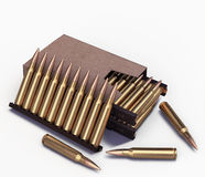 5.56 mm NATO cartridge in the box. On an  background Stock Images