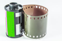 35 mm negative film - roll of camera film. A roll of Photographic film on a white background royalty free stock photos