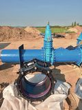 500mm new black waga multi joint unit. 500 mm drink water Gate valve screwed Stock Image