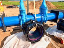 500mm new black waga multi joint unit. 500 mm drink water Gate valve screwed Stock Images