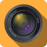 50mm on orange. Icon of a 50 mm camera lens with orange background. EPS version 10 with transparencies stock illustration