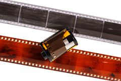 35mm photo film. Old photo film negative isolated on white. Photographic film strip isolated on white background. Black royalty free stock image