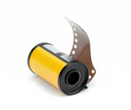 35mm photo film reel isolated on white background Stock Images