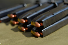 9mm pistol ammunition. Copper bullets Royalty Free Stock Image