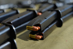 9mm pistol ammunition. Copper bullets Stock Images