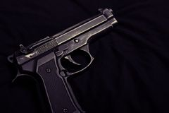 9mm pistol. On a black bacground Royalty Free Stock Photography