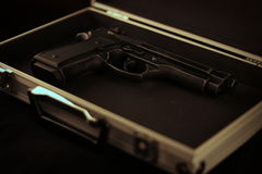 9mm pistol. In a metal case Royalty Free Stock Image