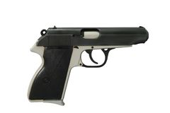 9mm Pistole lokalisiert auf Weiß Stockfoto