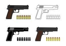 9mm pistolen met kogels worden geplaatst die stock foto's